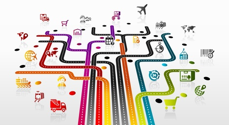 Abstract illustration with logistics infrastructure